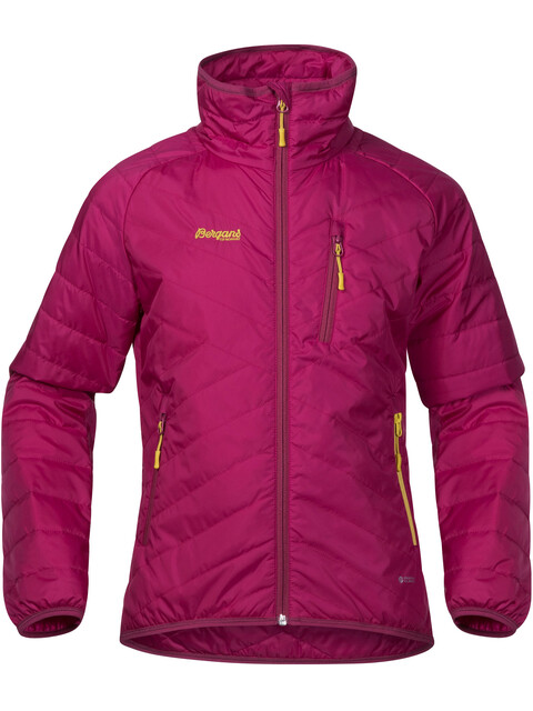 """Bergans Girls Josten Lt Insulated Jacket Cerise/Dusty Cerise/Yellow Green"""